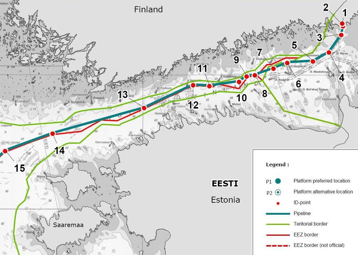 """Схема газопровода  """"Северный поток """" ."""